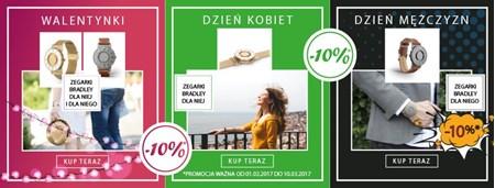 Изображение для категории Walentynki, Dzień Kobiet, Dzień Mężczyzn! -10% na zegarki Bradley!