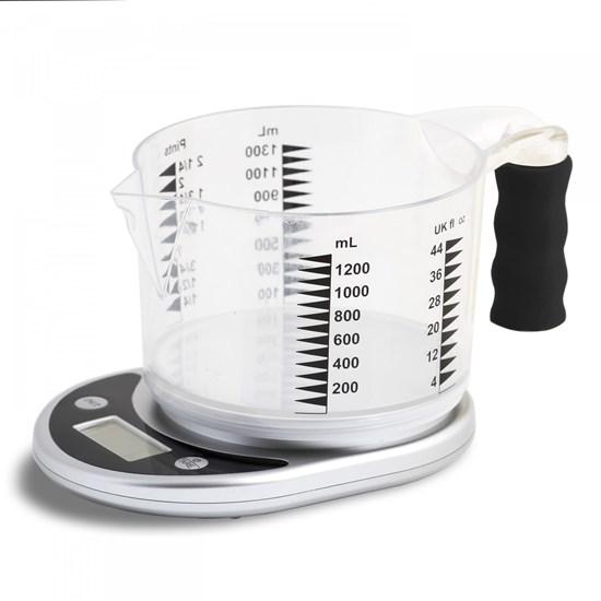 Mówiąca waga kuchenna i pojemnik z miarkami